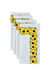 "Sunflower Garland Border Milliken Signature Napkins 18""x18"" 1 Dozen"