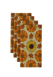 "Pumpkins & Sunflowers Signature Napkins 18""x18"" 1 Dozen"