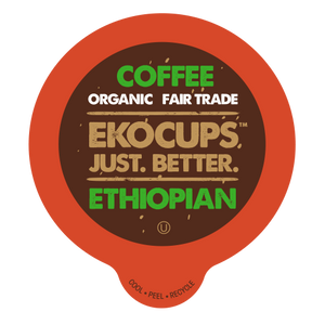 EKOCUPS Ethiopian Coffee Recyclable organic fair trade Single Serve Cups