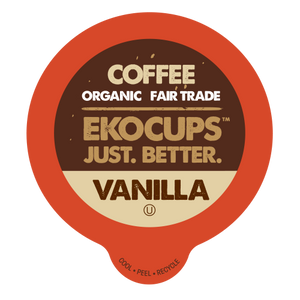 EKOCUPS Decaf Vanilla Coffee Recyclable organic fair trade Single Serve Cups
