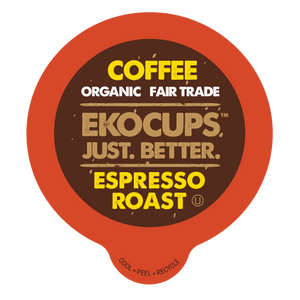 EKOCUPS Espresso Roast Coffee Recyclable organic fair trade Single Serve Cups