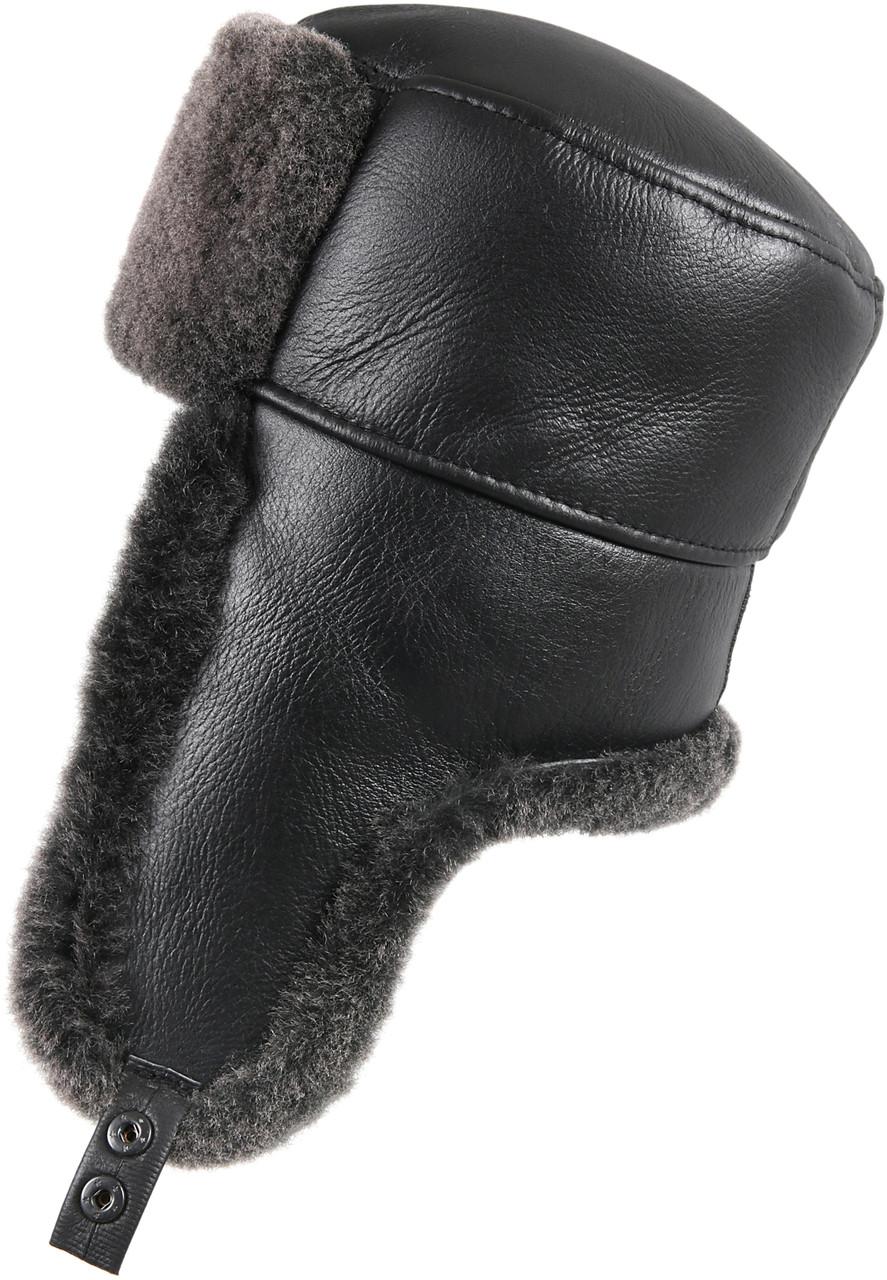 29568dfc0 Shearling Sheepskin Russian Ushanka Winter Fur Hat - Black