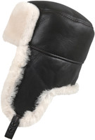 Shearling Sheepskin Russian Ushanka Fur Hat - Brown/Beige
