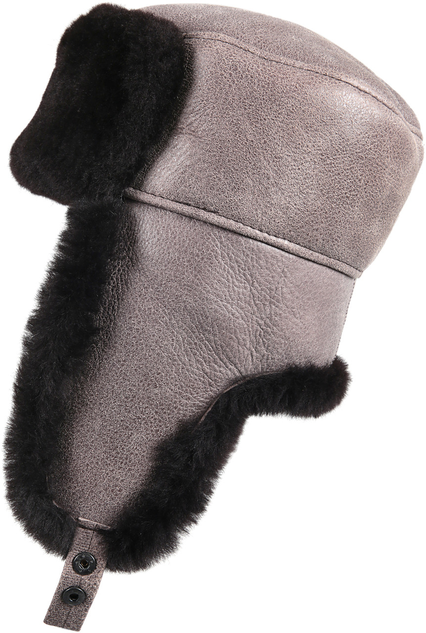 21fcf914c Shearling Sheepskin Russian Ushanka Winter Fur Hat - Gray
