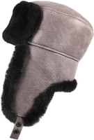 Shearling Sheepskin Russian Ushanka Winter Fur Hat - Gray