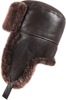 Shearling Sheepskin Russian Ushanka Winter Fur Hat - Brown