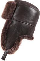 Shearling Sheepskin Russian Ushanka Winter Fur Hat - Brown