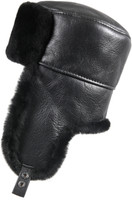 Shearling Sheepskin Russian Ushanka Fur Hat - Solid Black