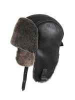 Shearling Sheepskin Pilot Winter Fur Hat - Black