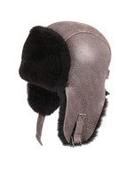 Shearling Sheepskin Pilot Winter Fur Hat - Gray