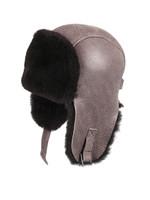Shearling Sheepskin Pilot Winter Fur Hat - Gray
