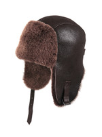 Shearling Sheepskin Pilot Winter Fur Hat - Brown