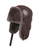 Shearling Sheepskin Pilot Winter Fur Hat - Cashmere