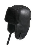 Shearling Sheepskin Pilot Winter Fur Hat - Solid Black