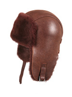 Shearling Sheepskin Pilot Winter Fur Hat - Brick Color