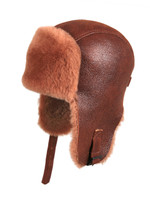 Shearling Sheepskin Pilot Winter Fur Hat - Peach Brown