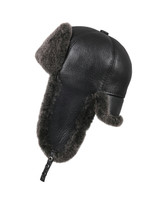 Shearling Sheepskin 6 Panel Ushanka Winter Fur Hat - Black
