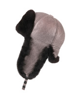 Shearling Sheepskin 6 Panel Ushanka Winter Fur Hat - Gray