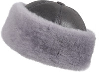 Shearling Sheepskin Bucket Winter Fur Hat - Antrasit