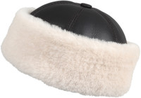 Shearling Sheepskin Bucket Winter Fur Hat - Brown/Beige