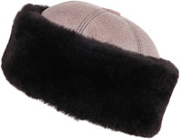 Shearling Sheepskin Bucket Winter Fur Hat - Gray