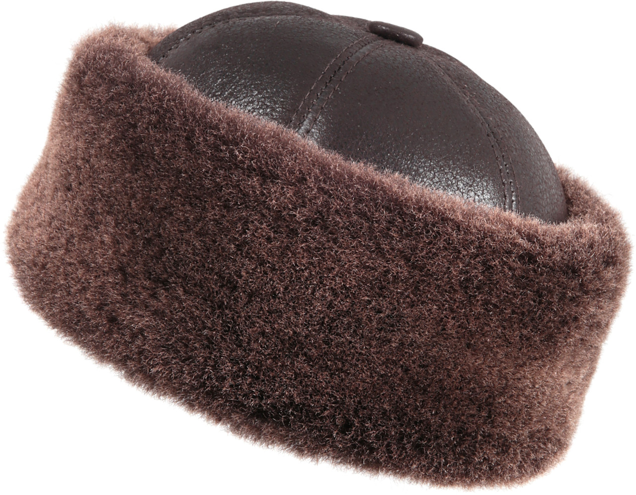 1b8e5ed9a7b4b ... Shearling Sheepskin Bucket Winter Fur Hat - Brown. Image 1. Loading zoom