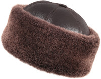 Shearling Sheepskin Bucket Winter Fur Hat - Brown