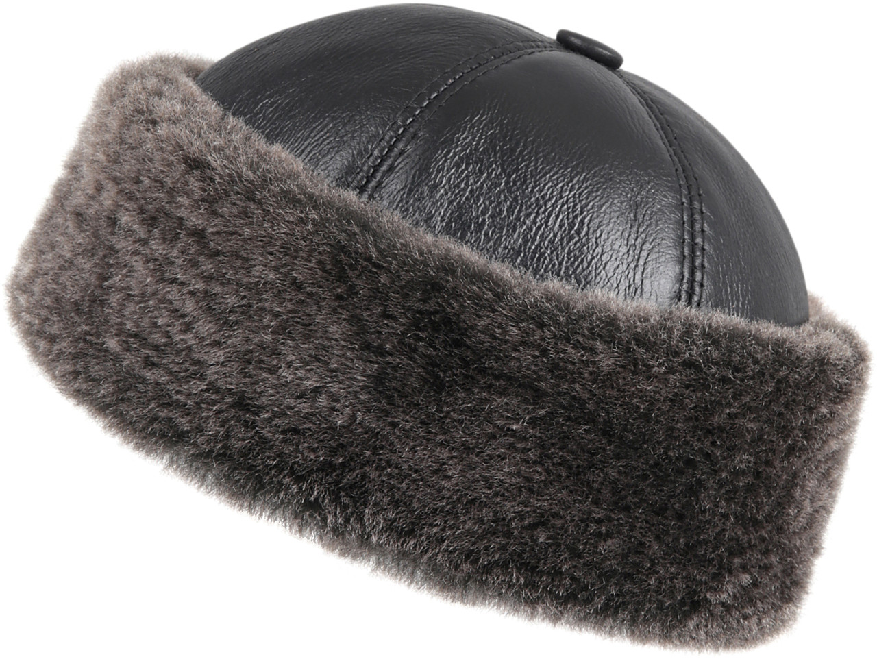 a558851c ... Shearling Sheepskin Bucket Winter Fur Hat - Black. Image 1. Loading zoom