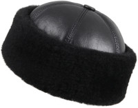 Shearling Sheepskin Bucket Winter Fur Hat - Solid Black