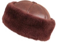 Shearling Sheepskin Bucket Winter Fur Hat - Brick Color