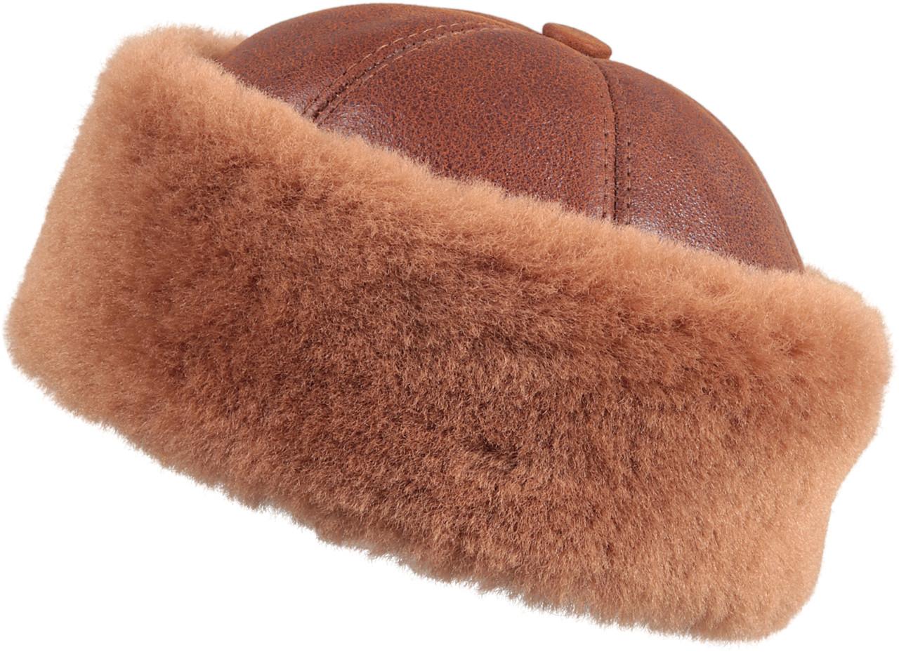 8614dcc8d Shearling Sheepskin Bucket Winter Fur Hat - Peach Brown