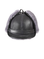 Shearling Sheepskin Visor Winter Fur Hat - Antrasit