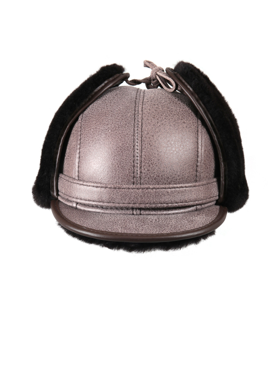 fd06c703 ... Shearling Sheepskin Visor Winter Fur Hat - Gray. Image 1. Loading zoom