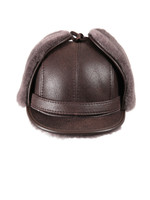 Shearling Sheepskin Visor Winter Fur Hat - Cashmere
