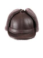 Shearling Sheepskin Visor Winter Fur Hat - Cashmere