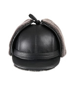 Shearling Sheepskin Visor Winter Fur Hat - Black