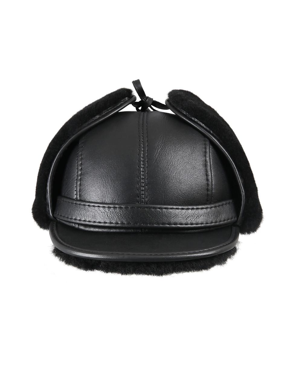 3e5b7ea2 ... Shearling Sheepskin Visor Winter Fur Hat - Solid Black. Image 1.  Loading zoom