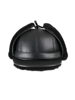 Shearling Sheepskin Visor Winter Fur Hat - Solid Black