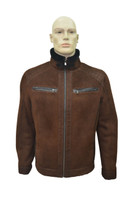 Men's Genuine Shearling Sheepskin Fashionable Classic Winter Jacket - Brick Color