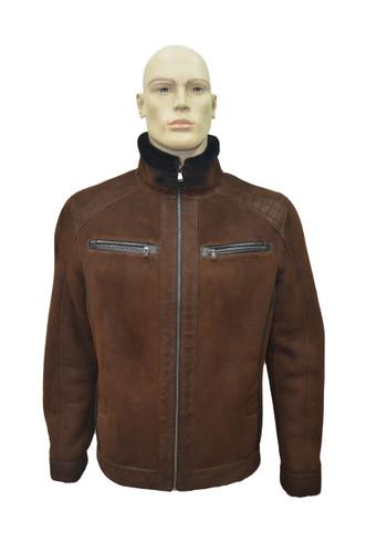 Men's Genuine Shearling Sheepskin Fashionable Classic Winter Jacket - Brick Color