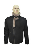 Men's Genuine Shearling Sheepskin Fashionable Rider Winter Jacket - Black