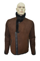 Men's Genuine Shearling Sheepskin Fashionable Rider Winter Jacket - Brick Color