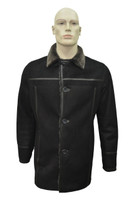 Men's Genuine Shearling Sheepskin Leather Classic Winter Coat - Black