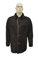 Men's Genuine Shearling Sheepskin Leather Classic Winter Coat - Brown