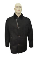 Men's Genuine Shearling Sheepskin and Leather Fur Classic Winter Coat - Black