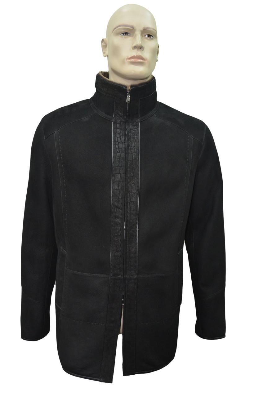 401f10223 Men's Genuine Shearling Sheepskin Fur Leather Classic Long Winter Coat -  Black