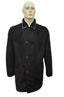 Men's Michel Real Shearling Sheepskin Fur Leather Long Winter Coat - Black