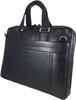 Men's Genuine Leather Briefcase Laptop Shoulder Messenger Bag - Black 2