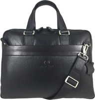 Men's Genuine Leather Briefcase Laptop Shoulder Messenger Bag - Black