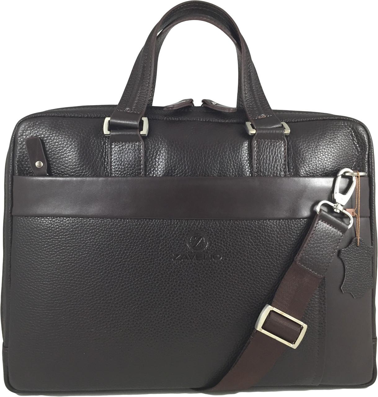 Men s Genuine Leather Briefcase Laptop Shoulder Messenger Bag - Brown.  Loading zoom 6e0db7d6d0efb